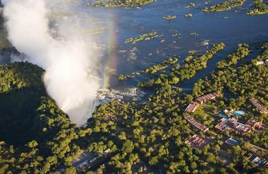 Aerial view of the Victoria Falls and AVANI Victoria Falls Resort
