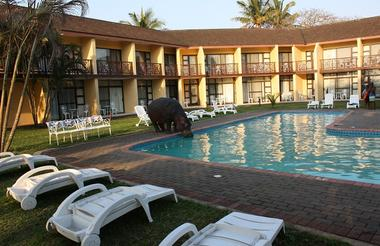 Hippos are regular visitors to hotel gardens